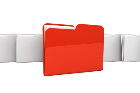 Documents organized concept. Red Folder with paper on a white background Stock Photo - 16420905