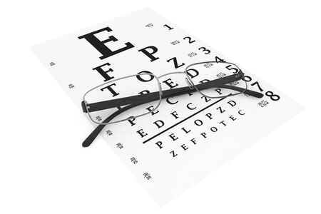 diopter: Eyesight test chart with modern reading glasses extreme closeup