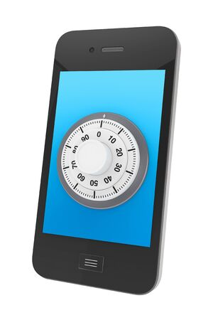 Phone Security concept. Mobile phone with Lock on a white background photo