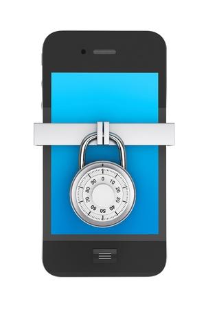携帯電話のセキュリティ概念。白い背景の上のロック携帯電話 写真素材