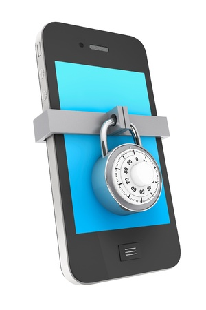 hasło: Telefon koncepcji bezpieczeństwa. Telefon komórkowy z zamkiem na białym tle