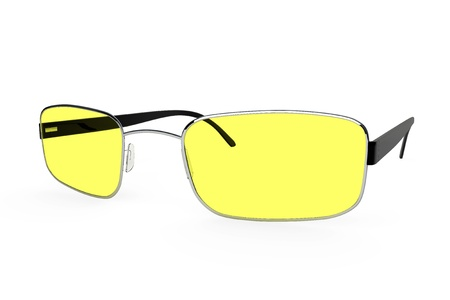 bifocals: Closeup of modern glasses with yellow glass on a white background. Stock Photo