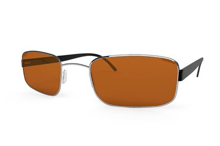 rimmed: Closeup of modern glasses with brown glass on a white background.