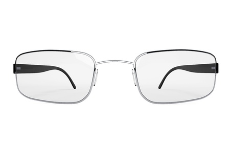 bifocals: Closeup of modern glasses on a white background. Stock Photo