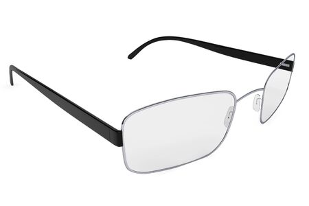 rimmed: Closeup of modern glasses on a white background. Stock Photo