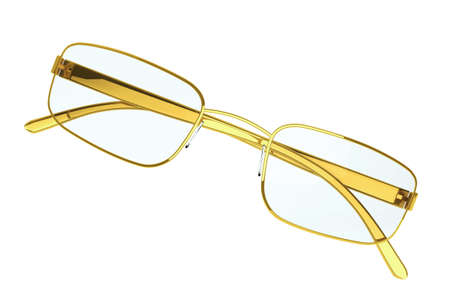 bifocals: Gold Modern eyeglasses on a white background.