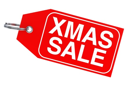 Winter sale concept. Christmas sale tag on a white background photo