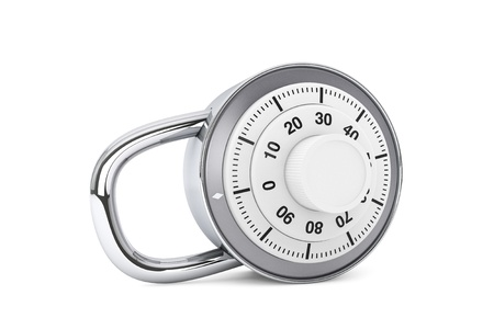 Security concept. Silver combination padlock on a white background photo