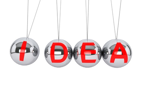 Perpetual Idea concept. Newton's sphere with Idea sign on a white background Stock Photo - 16420906