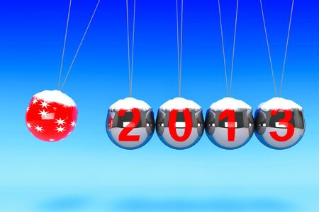 New Year concept. Spheres of Newton with 2013 on a blue background Stock Photo - 16421196