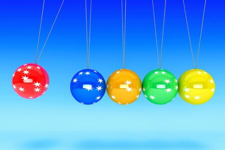 New Year concept. Spheres of Newton on a blue background photo