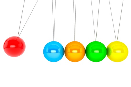 Perpetual motion concept. Colorful newton's cradle on a white background Stock Photo - 16420918