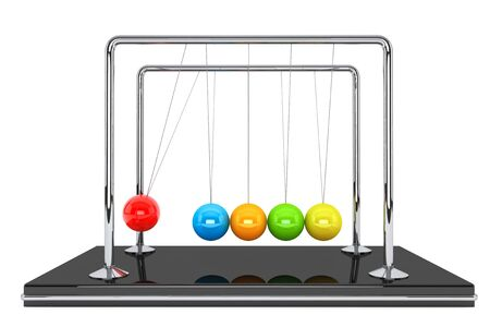 Perpetual motion concept. Colorful newton's cradle on a white background Stock Photo - 16421067