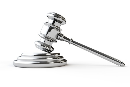 commercial law: Silver justice gavel on a white background