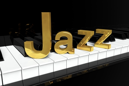 Jazz Music Concept. Black piano keys with golden Jazz sign. photo