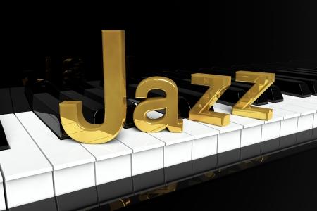 instrumental: Jazz Music Concept. Black piano keys with golden Jazz sign.