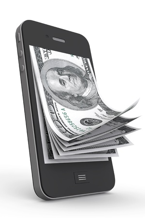 mobile banking: Money in Mobile Phone on a white background Stock Photo
