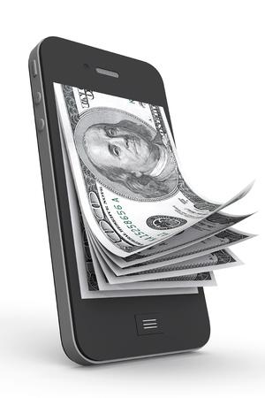 Pengar i mobiltelefon på en vit bakgrund
