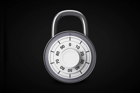 Security concept. Silver combination padlocks in open and close position on a black background Stock Photo - 16604332