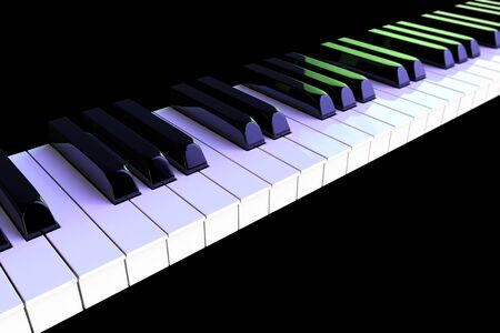 Piano keys closeup in colour lights on a black background photo