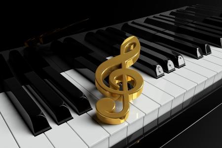 piano closeup: Golden treble clef is on extreme closeup piano keys