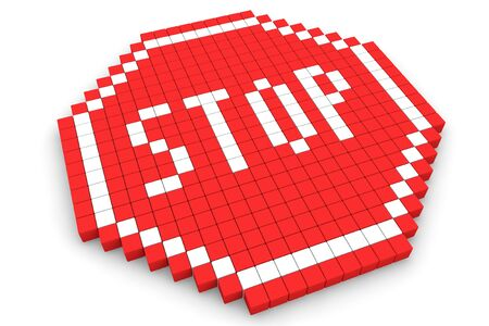 Stop Traffic Sign made with cubes on a white background Stock Photo - 16604328