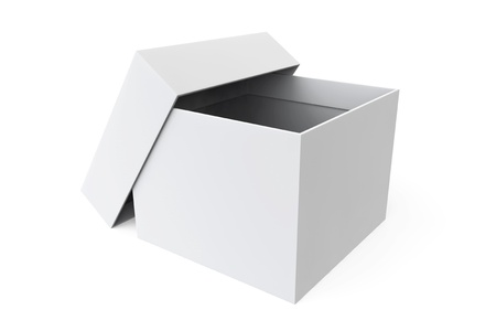 White blank open box on a white background photo
