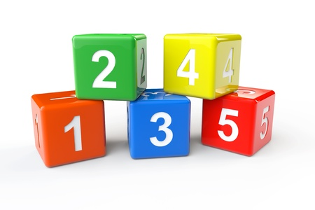 Numbers colorful blocks on a white background 版權商用圖片