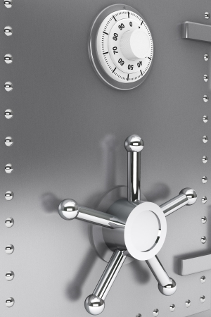 Safety concept. Steel Bank safe extreme closeup Stock Photo - 16803907
