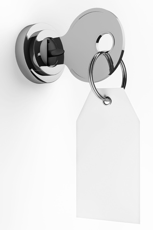 unauthorized: Security concept. Lock and key with pendant on a white background