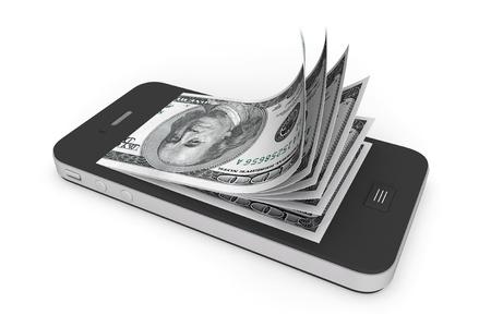 cash money: Dinero en el teléfono móvil sobre un fondo blanco Foto de archivo