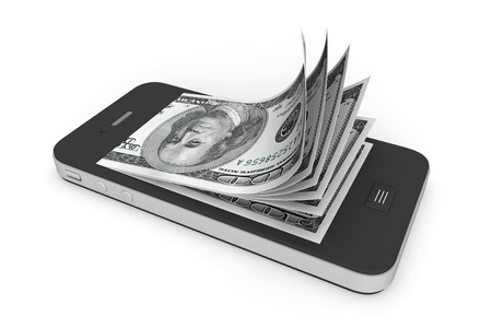 cash money: Money in Mobile Phone on a white background Stock Photo
