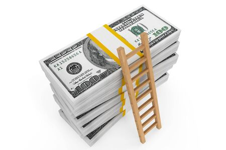 Stacks of dollars with a ladder on a white background photo