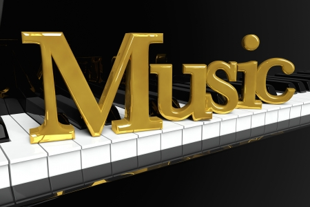 piano closeup: Music Concept. Black piano keys with golden music sign. Stock Photo
