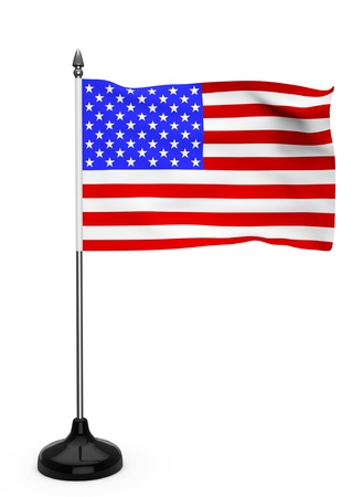 USA flag with stand on a white background Stock Photo - 16803894