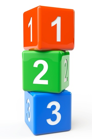 early childhood: Numbers colorful blocks on a white background Stock Photo