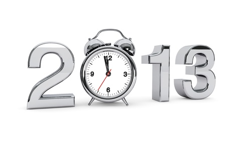 New year 2013 concept. 2013 steel sign with alarm clock on a white background Stock Photo - 17094536