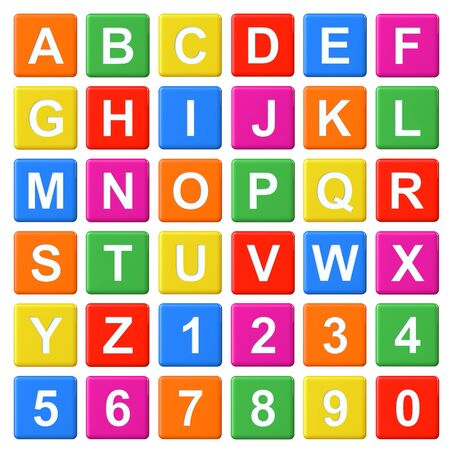 Alphabet Baby Blocks Letters and Numbers set on a white background photo
