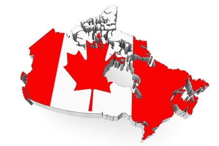 3d Canada map with flag on a white background photo