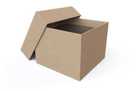 Opened Cardboard box on a white background photo