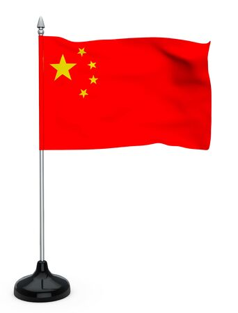 Flag of China hanging on the flagpole on a white background