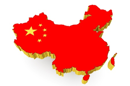 Peoples Republic of China map with flag on a white background photo