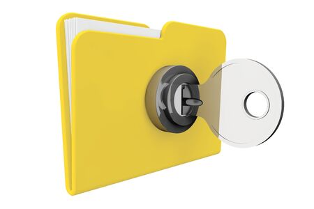 Yellow computer folder with key on a white background photo