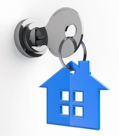 白い背景の上の家キーチェーンのシンボルと家の鍵 写真素材 - 17094533