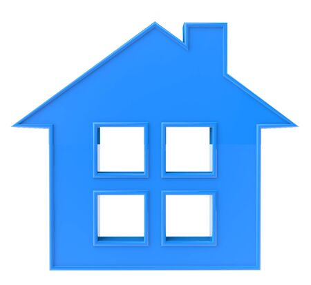 Blue 3D House Icon on a white background photo