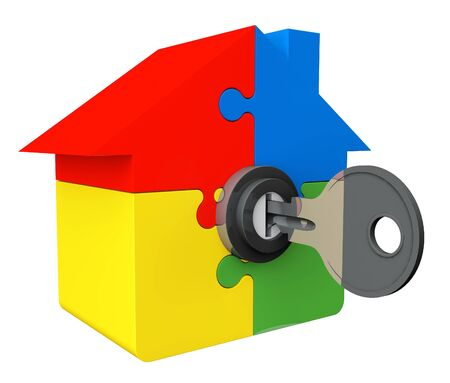 House from puzzle with key on a white background photo