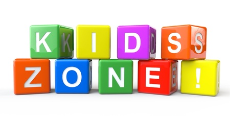 Alphabet cubes with Kids Zone sign on a white background