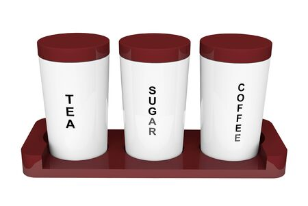 Tea, coffee and sugar cannisters with wooden holder on a white background Stock Photo - 17094541