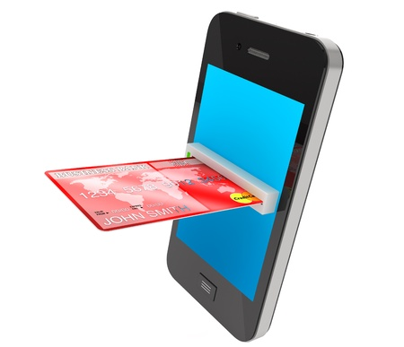 credit card payment: Red Credit Card and modern mobile phone on a white background Stock Photo
