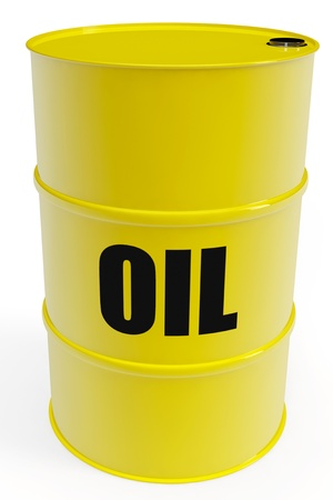 oil barrel: Yellow oil barrel with sign on a white background
